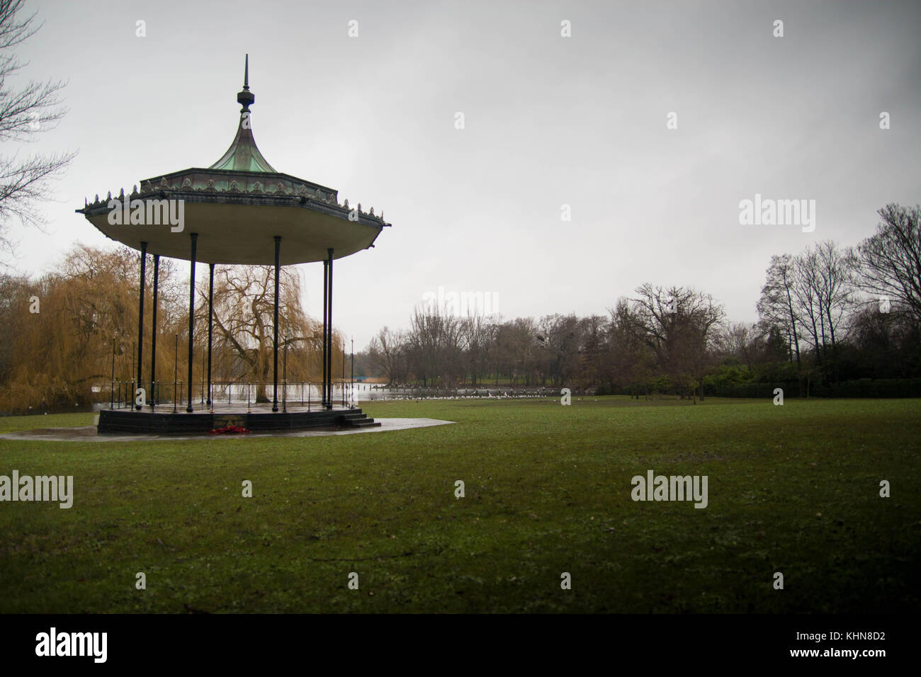 Bandstand, pavilion by the lake in Regent's Park, London. No people, copy space. - Stock Image