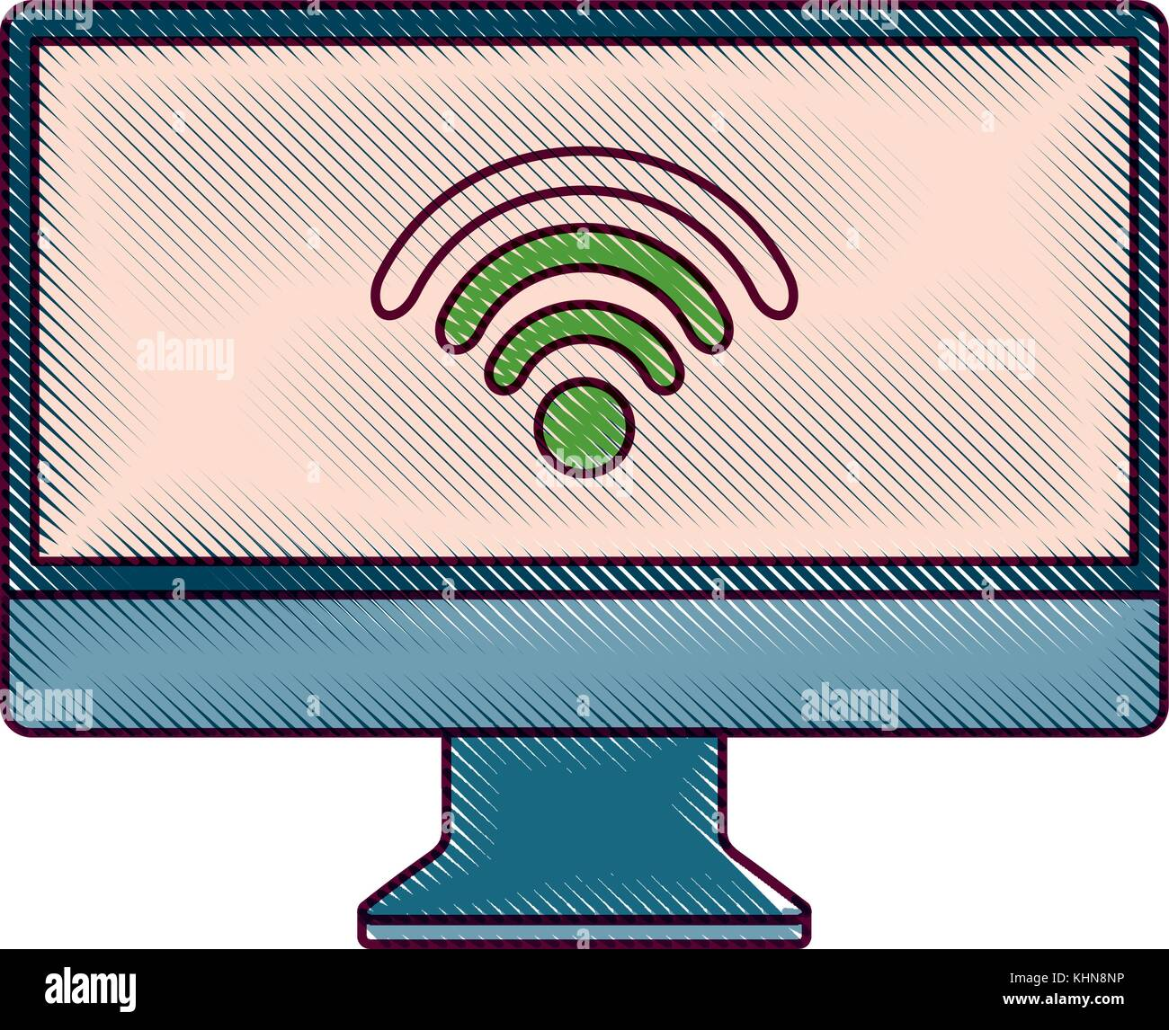 monitor computer wifi connection screen device - Stock Image