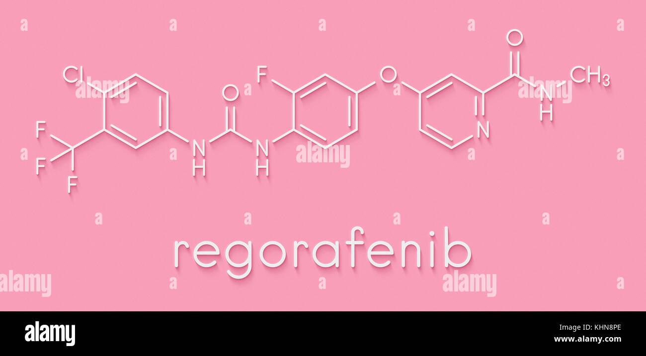 Regorafenib cancer drug molecule. Skeletal formula. - Stock Image