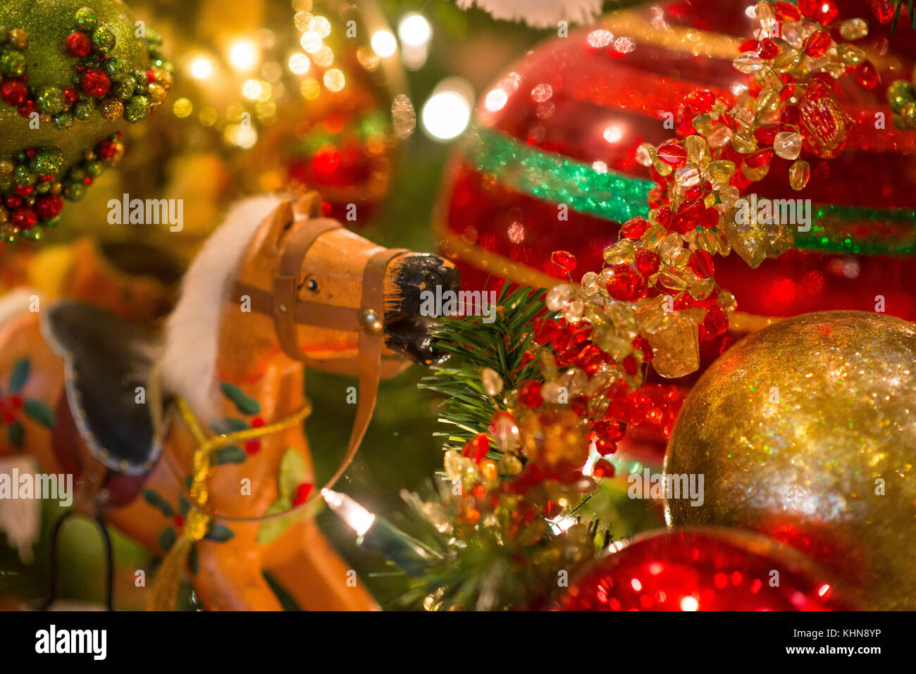 Halo Christmas Ornament.Close Up Of Rocking Horse Toy And Glittery Christmas