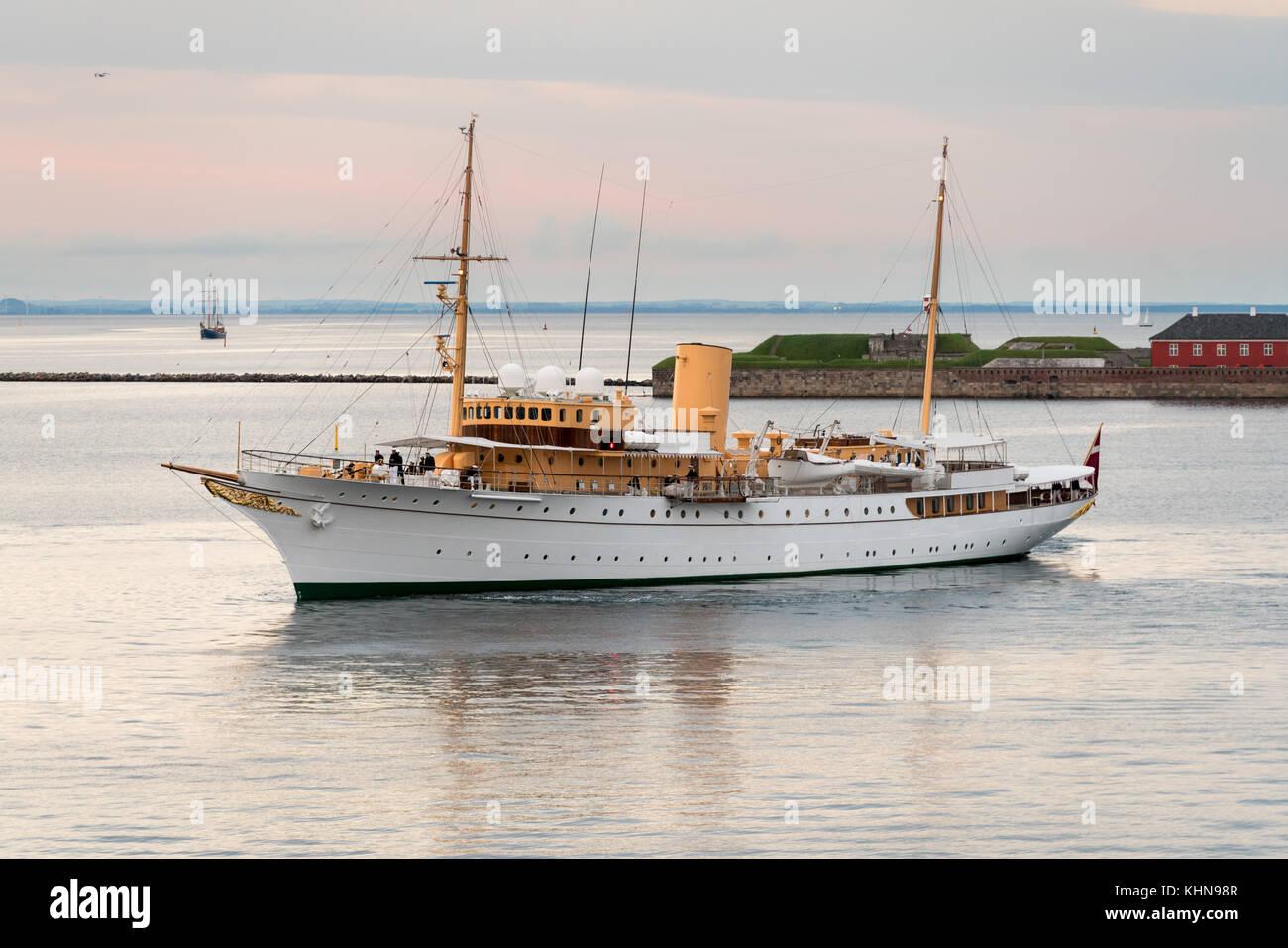 Her Danish Majesty Yacht Dannebrog in Copenhagen harbour - Stock Image