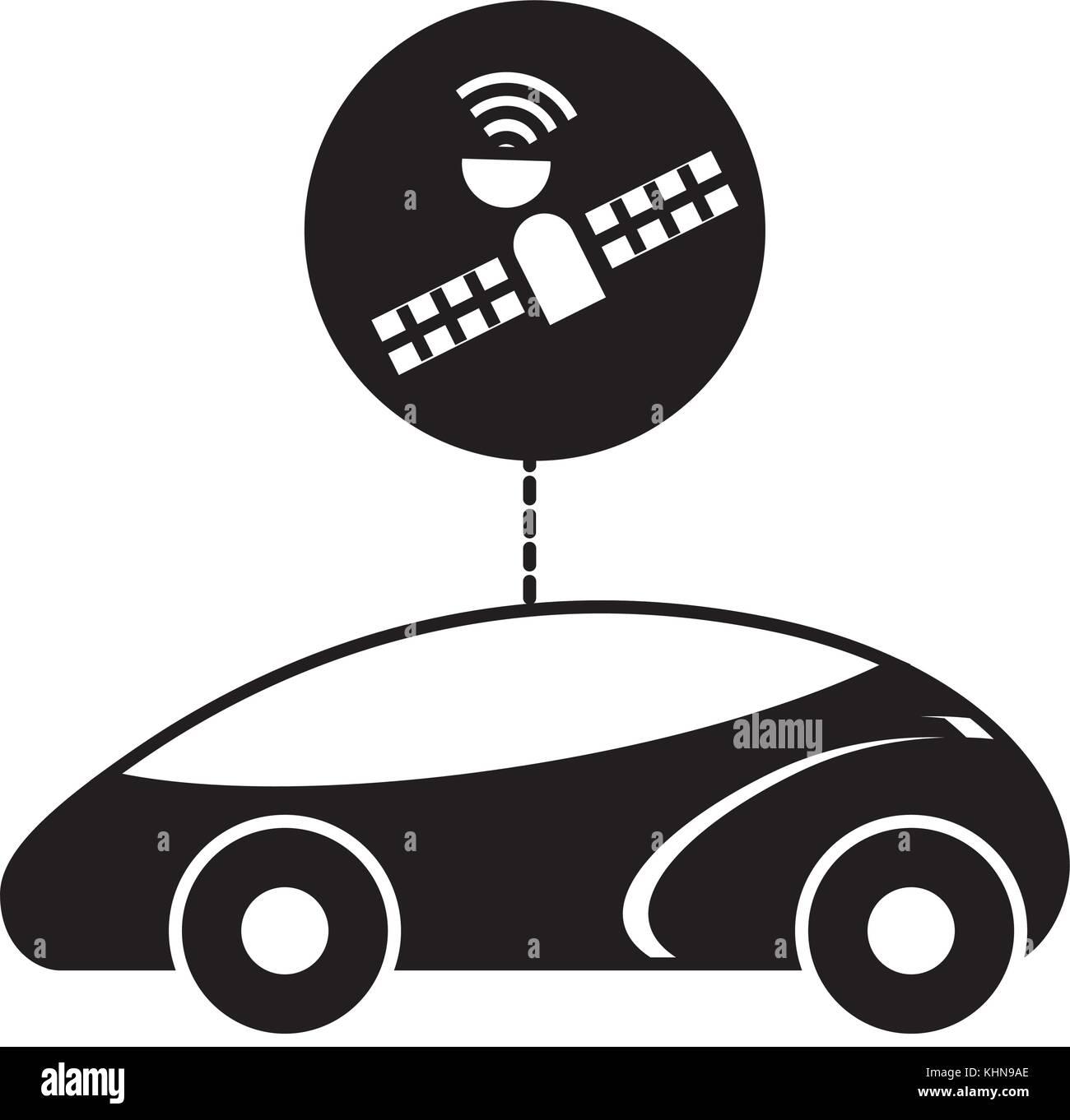 gps navigation car autonomous satellite connection - Stock Image