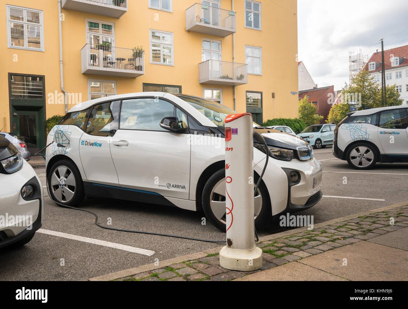 DriveNow BMW electric car in Copenhagen - Stock Image