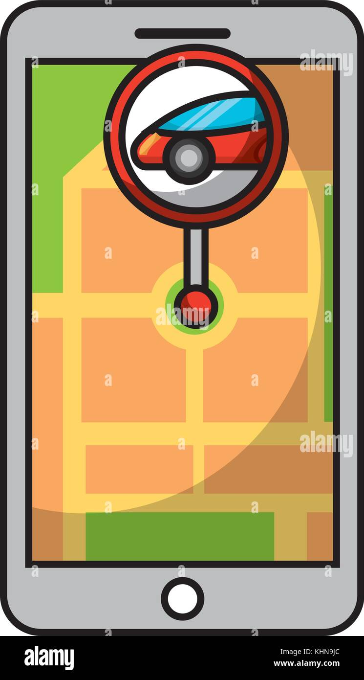 smartphone gps navigation map and pin car app - Stock Vector