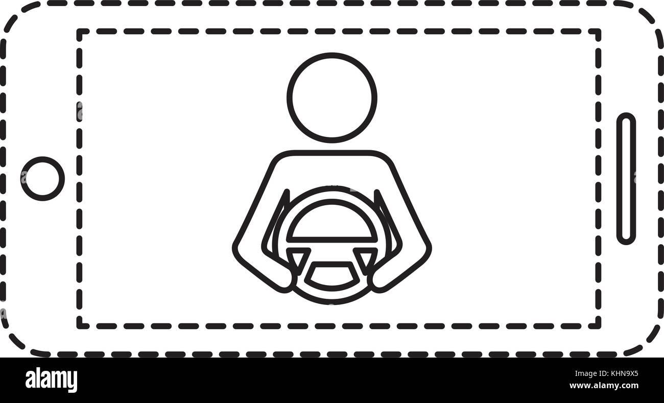 smartphone gps navigation driver at steering wheel - Stock Image