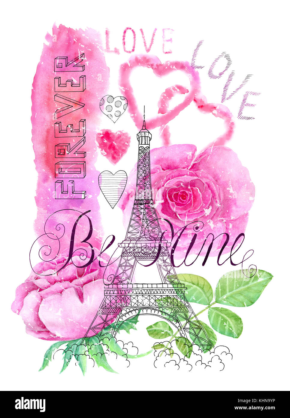 Illustration with the Eiffel Tower, roses and love symbols Stock Photo