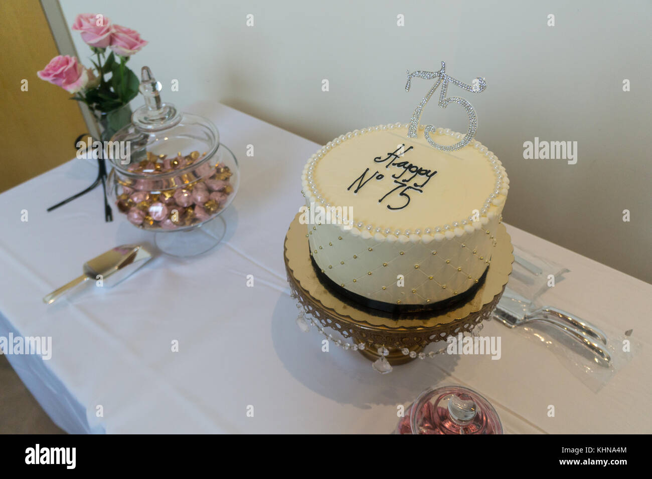 Astounding Cake Of 75Th Anniversary Or Birthday Classy Beaded With Foiled Funny Birthday Cards Online Overcheapnameinfo