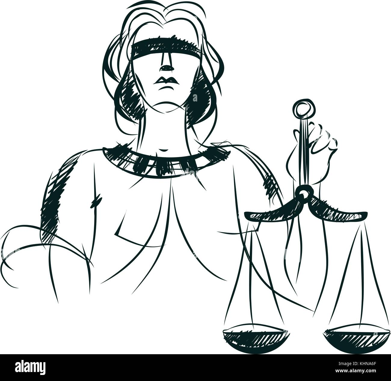 Vector Illustration Of A Symbol Of Justice And Law Stock Vector Art