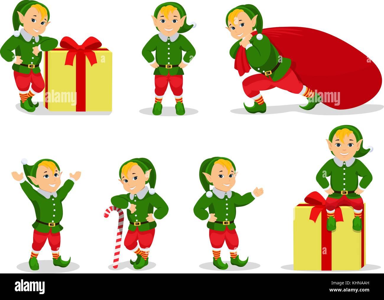 vector illustration set of cartoon christmas elves stock image - Merry Christmas Elf