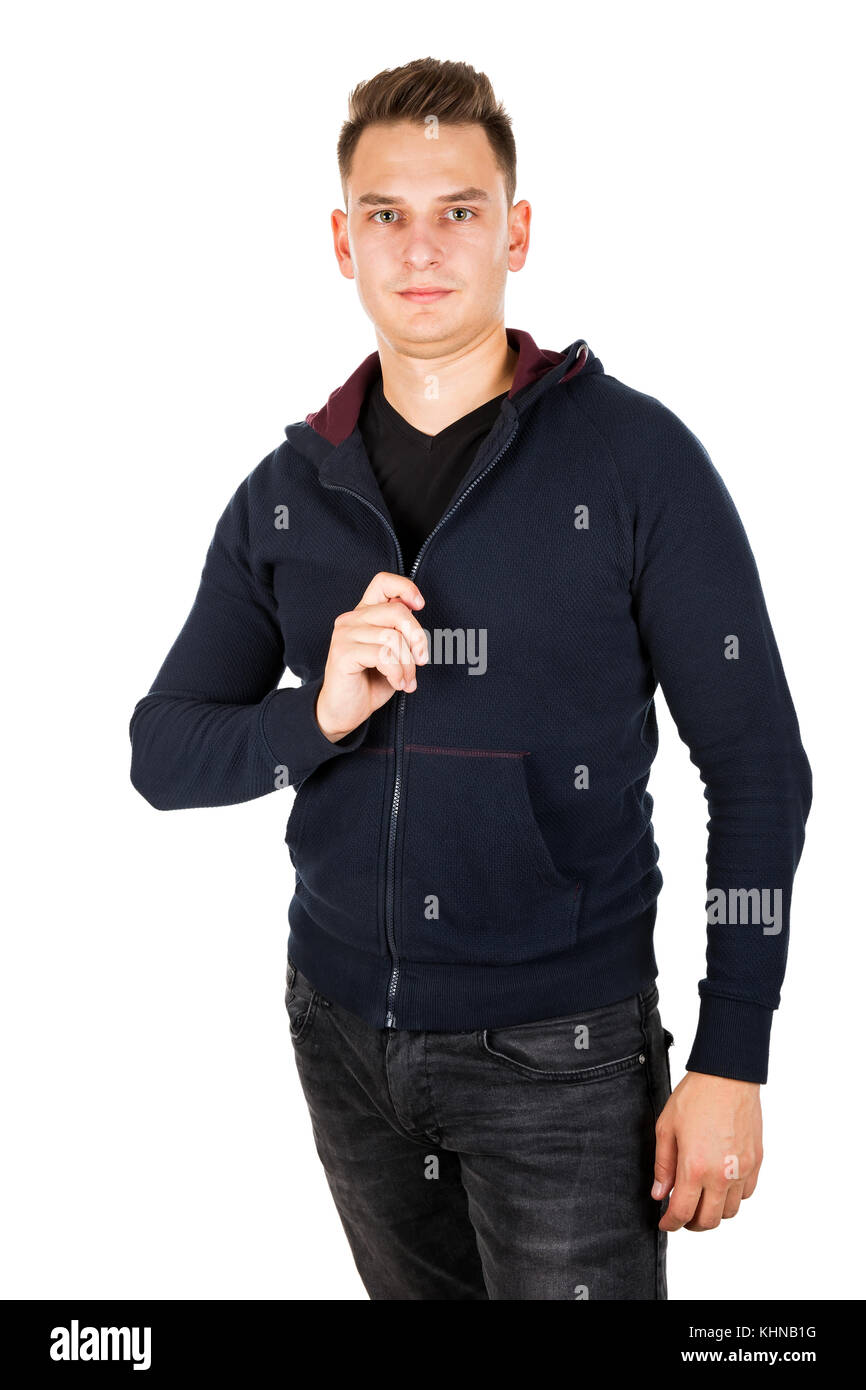 Photo of a confident man zipping  his hoodie - Stock Image