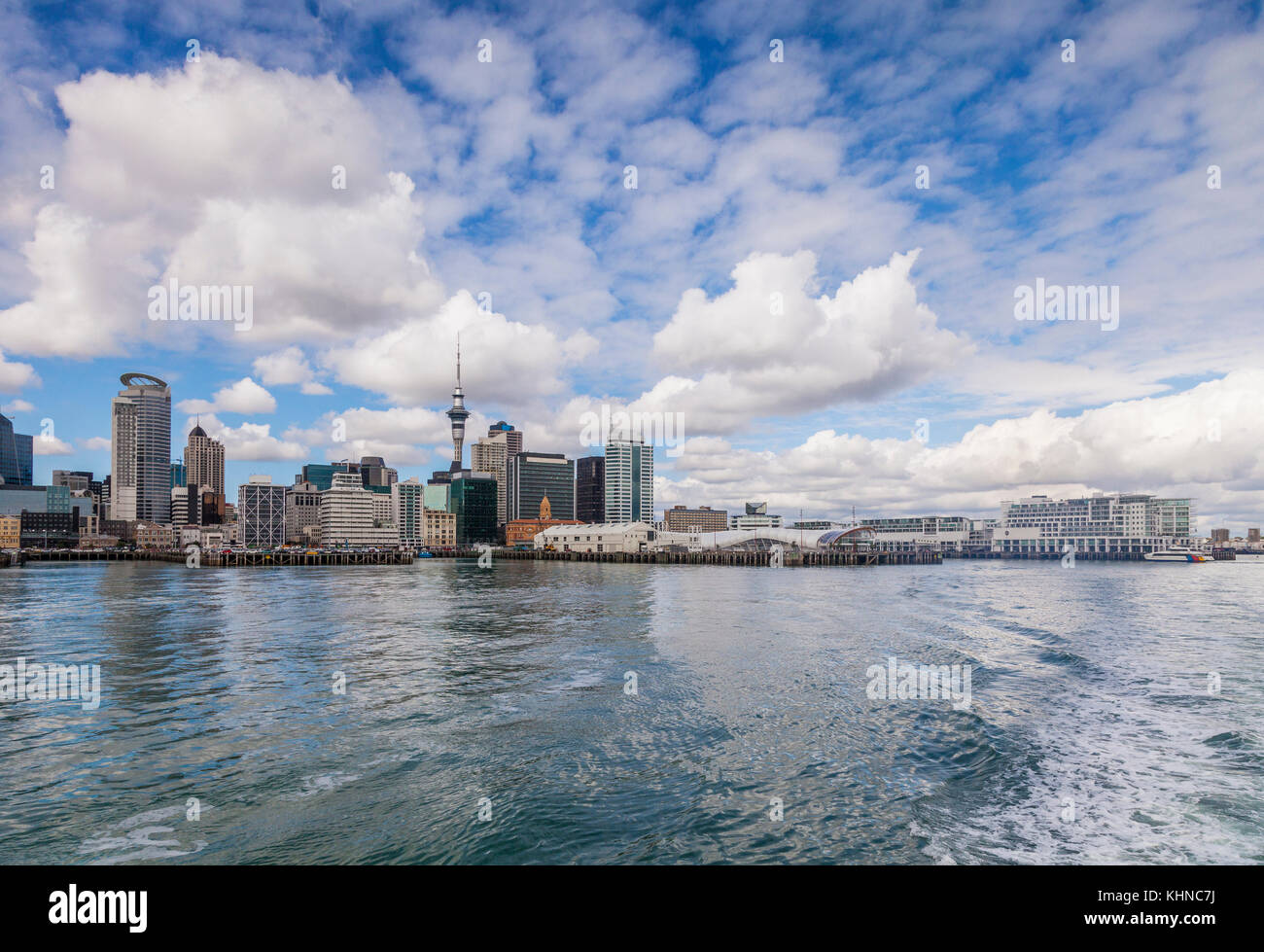 Auckland skyline from the sea, New Zealand - Stock Image