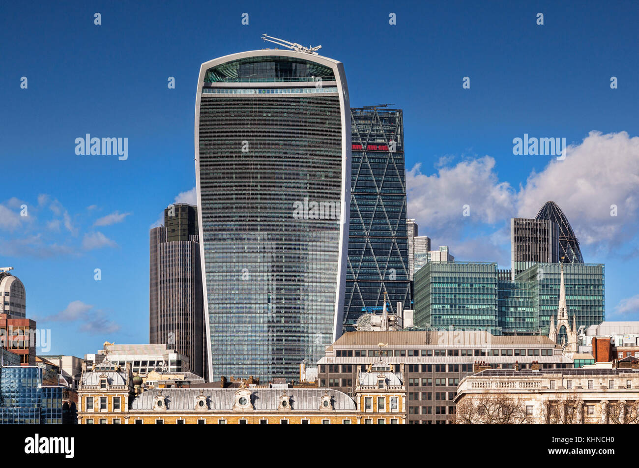 London skyline, with 20 Fenchurch Street, London, the building known as the Walkie Talkie. - Stock Image