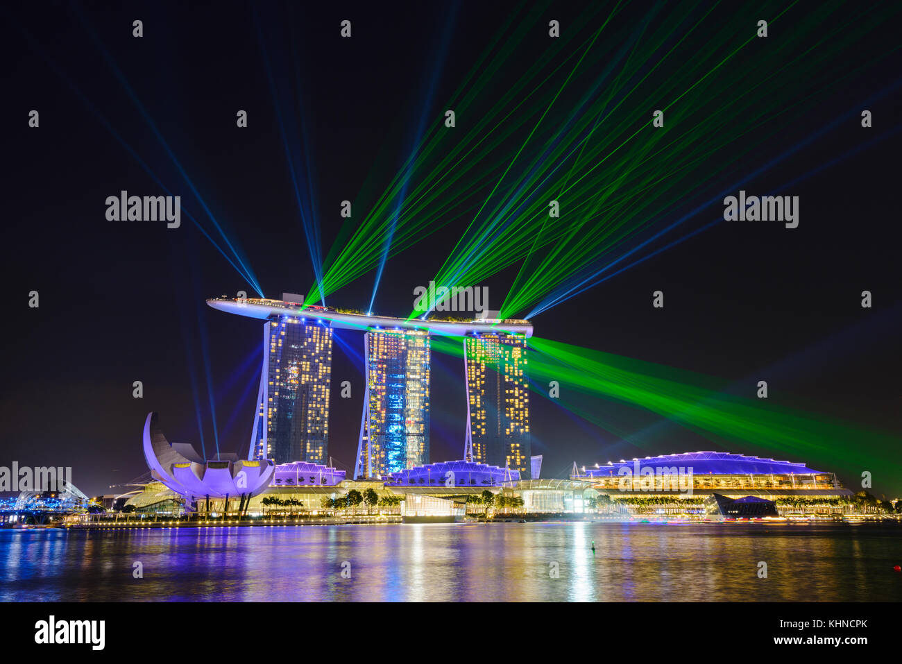 light laser and water fountain show at marina bay sands singapore
