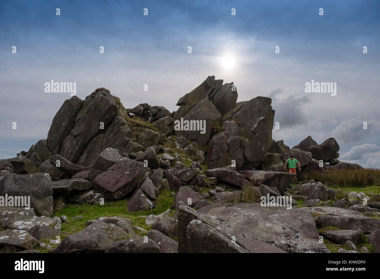 Megalithic landscapes in the UK: The jagged outlines of the Carn Menyn / Carn Meini outcrop of spotted dolerite - Stock Image