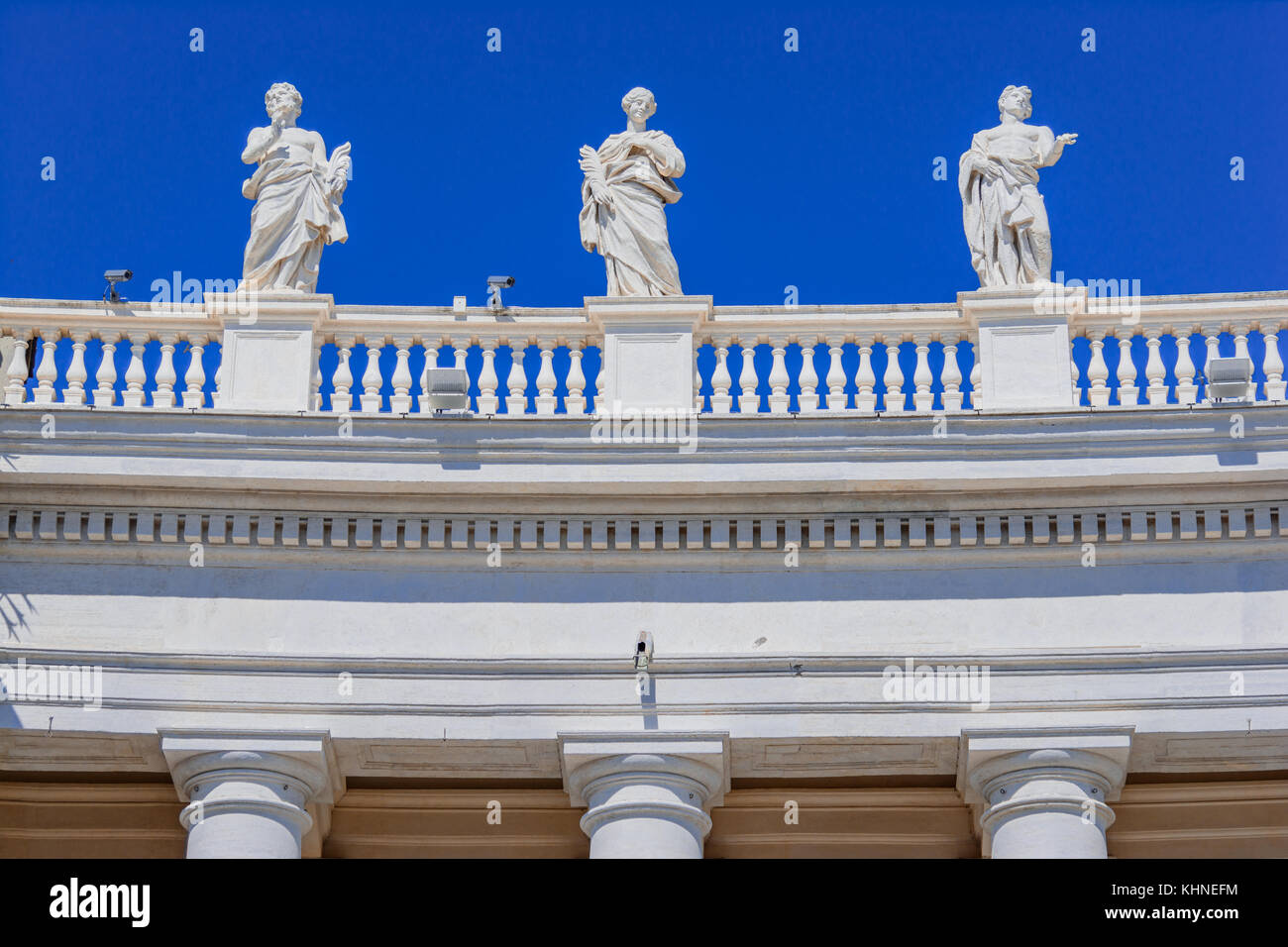 Architectural detail in Saint Peter Square in Vatican, Rome,Italy - Stock Image