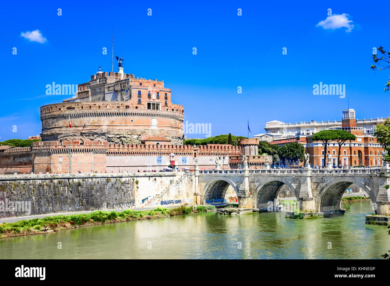 Ponte Sant'Angelo bridge crossing the river Tiber,Rome,Italy,Europe - Stock Image