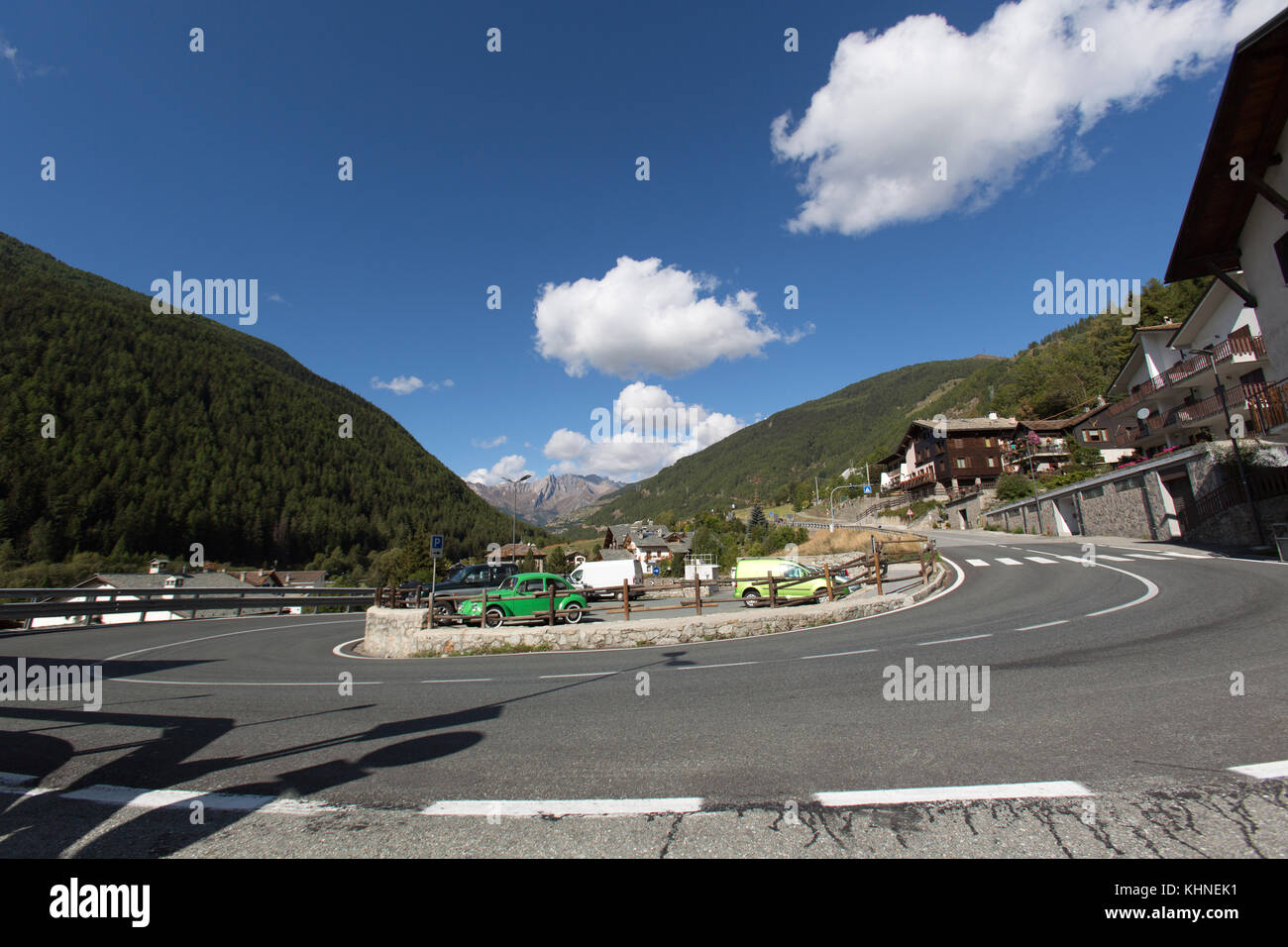 Town of Etroubles, Italy. Picturesque view of the town of Etroubles in Northern Italy. - Stock Image