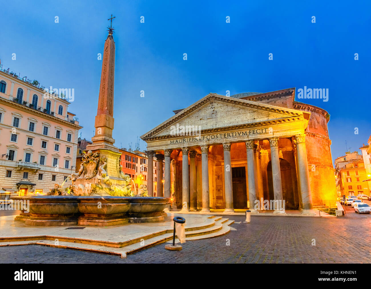 Piazza della Rotonda and Pantheon in the Morning, Rome, Italy - Stock Image