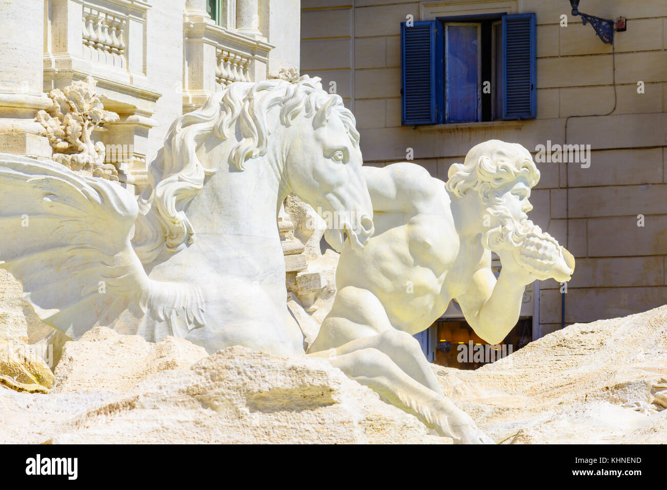 Architectural detail of Trevi Fountain ,Fontana di Trevi, a fountain in the Trevi rione in Rome, Italy, the largest - Stock Image