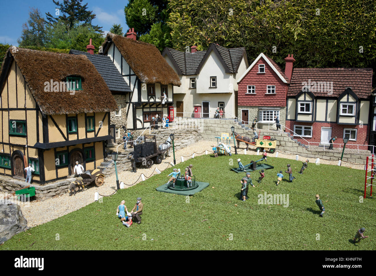 Playground and houses Bekonscot Model Village Beaconsfield Buckinghamshire England - Stock Image