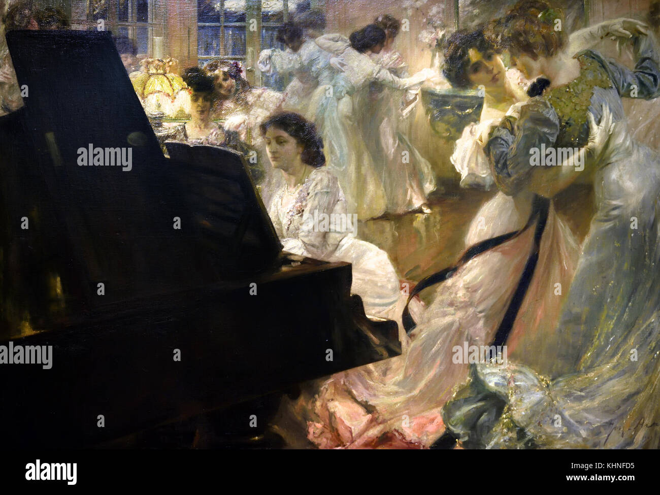 The White Ball 1903 Joseph-Marius Avy 1871-1939  France, French. ( The Erard piano with the Movements of the dancers, - Stock Image