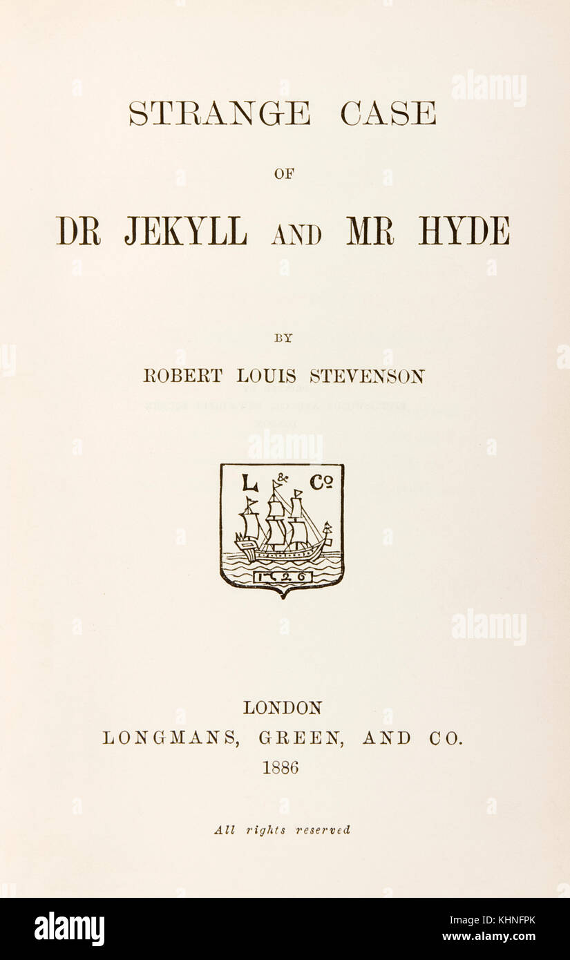 Title page from first edition of 'Strange Case of Dr Jekyll and Mr Hyde' by Robert Louis Stevenson (1850-1894) published - Stock Image