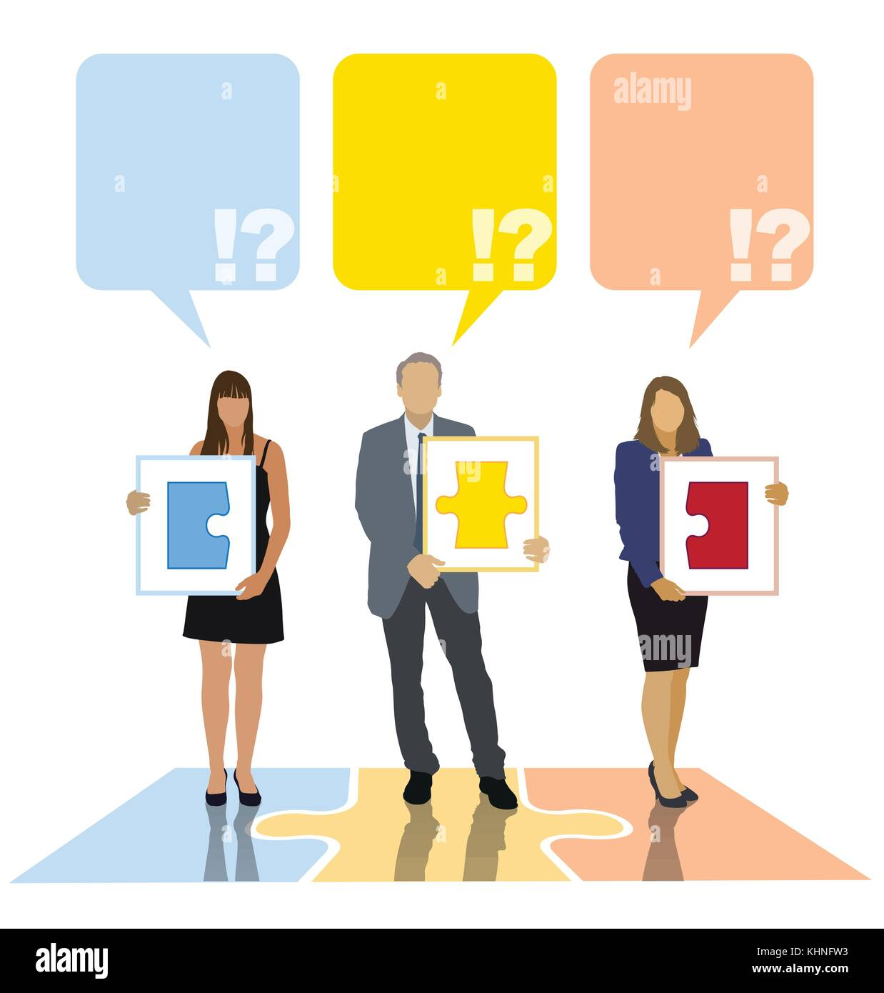 Team members are presenting their own parts of one big project. Creative template. - Stock Vector