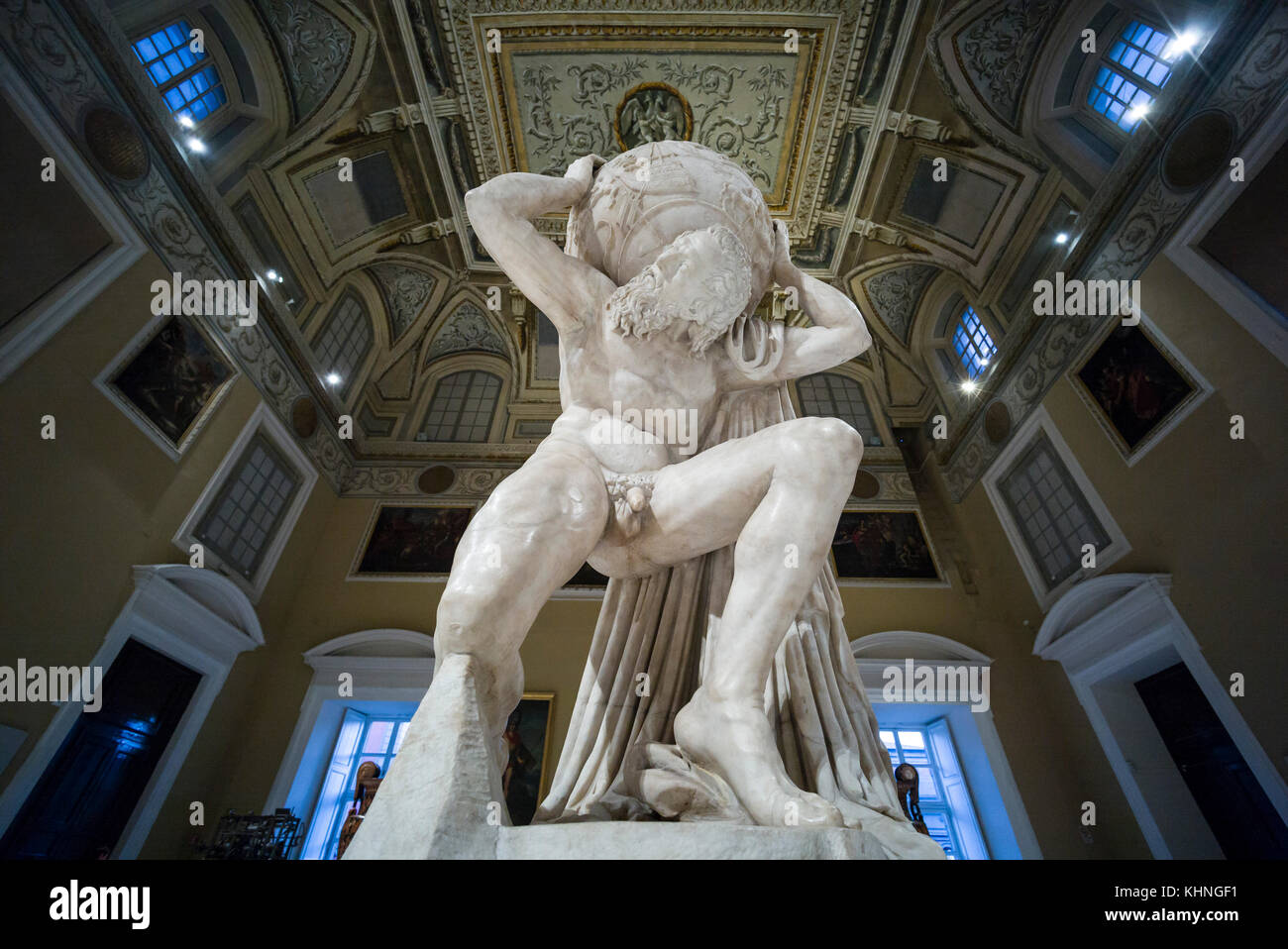 Naples. Italy. Atlas Farnese sculpture, 2nd century A.D. Museo Archeologico Nazionale di Napoli. Naples National Stock Photo