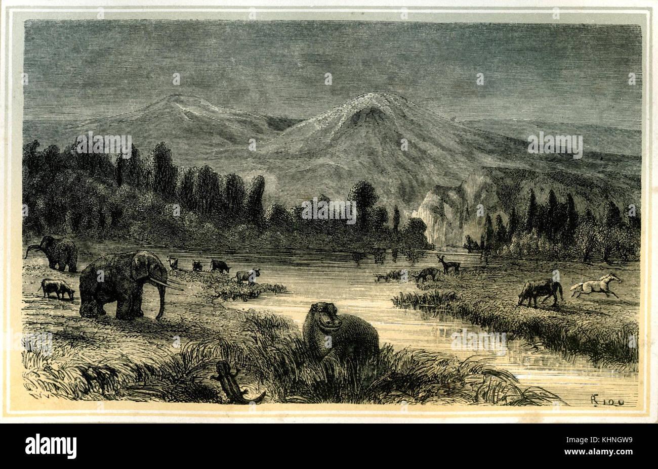 Landscape from the time of the Pliocene (Landschaft aus der Zeit des Pliozän) - Stock Image