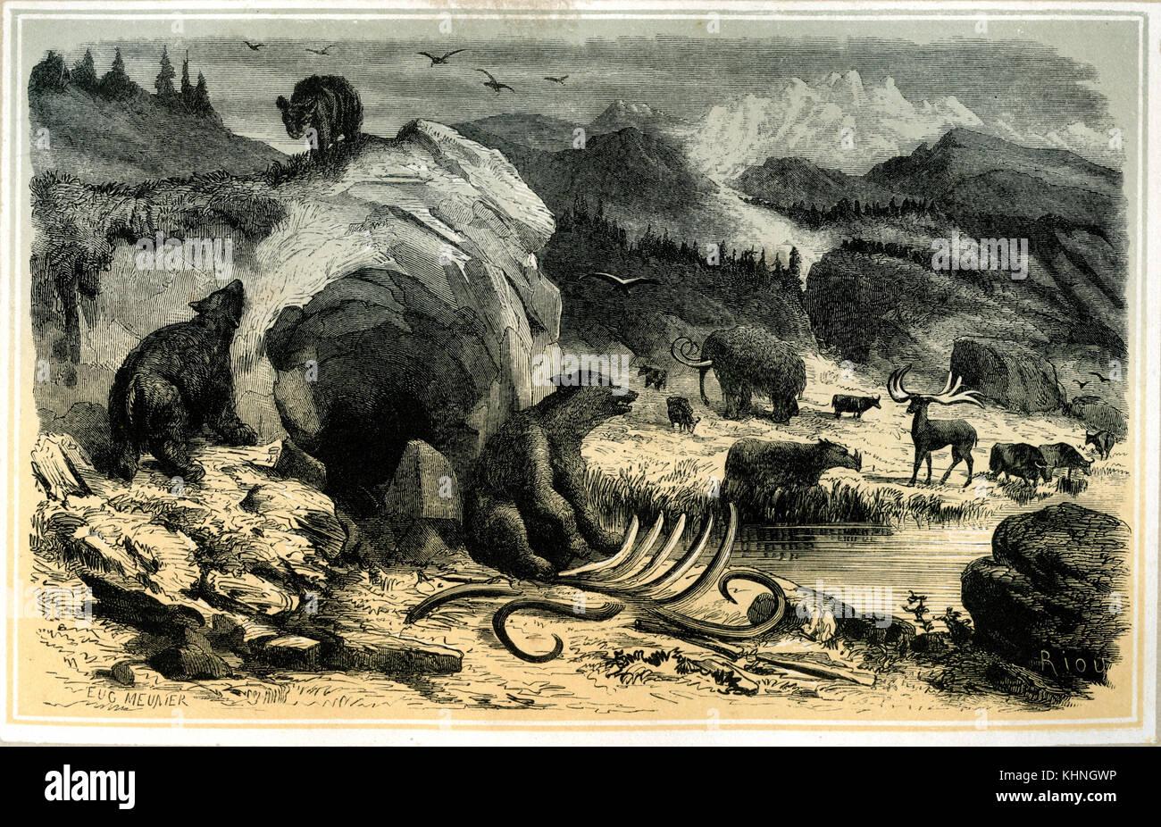 Landscape with mammoths (Landschaft der Mammutzeit) - Stock Image