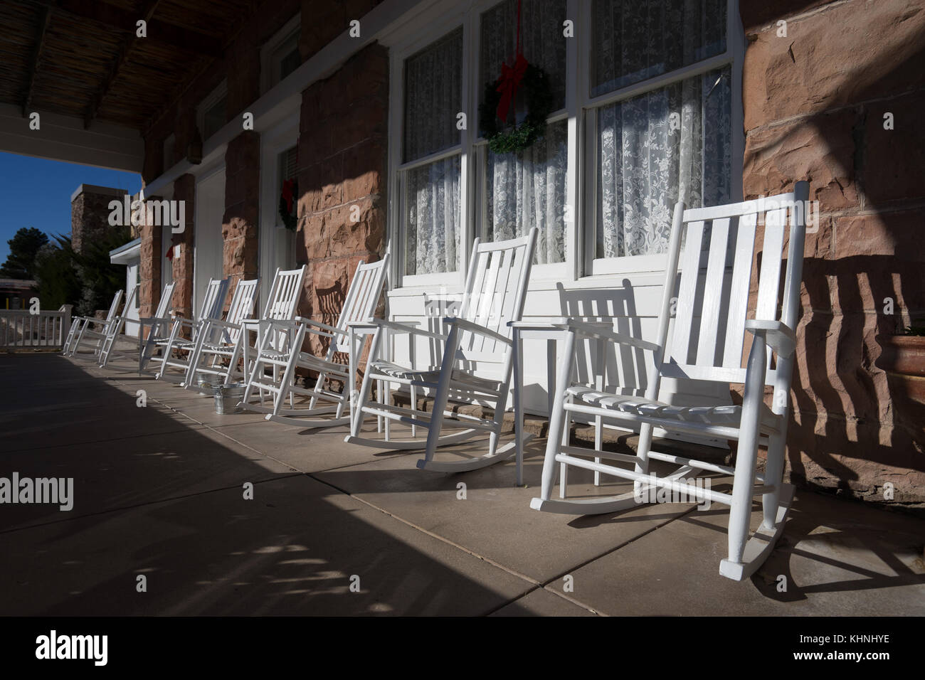 Astounding White Rocking Chairs On Building Porch In Texas Stock Photo Unemploymentrelief Wooden Chair Designs For Living Room Unemploymentrelieforg