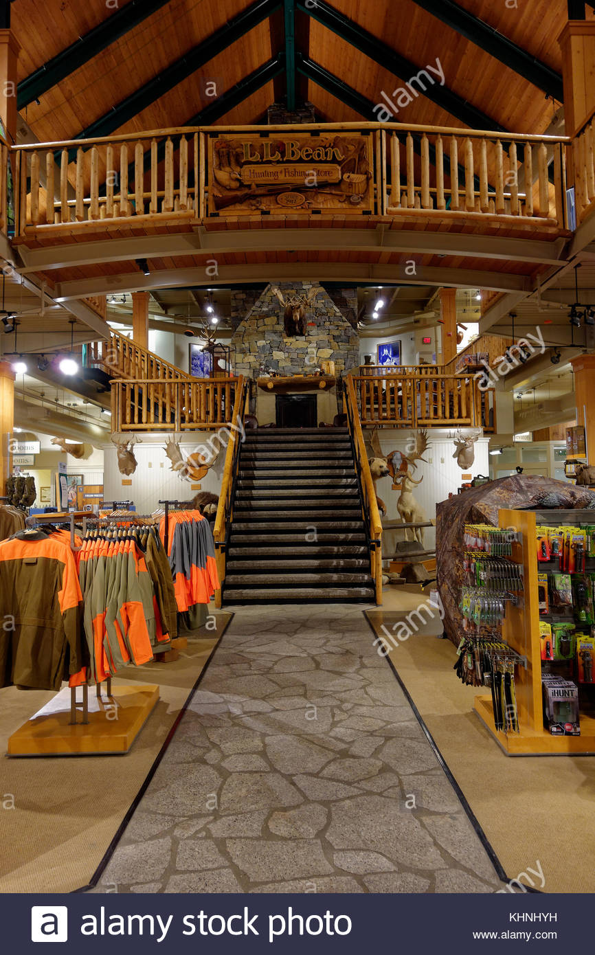 Interior view of LLBean's flagship store, Freeport, Maine, USA - Stock Image