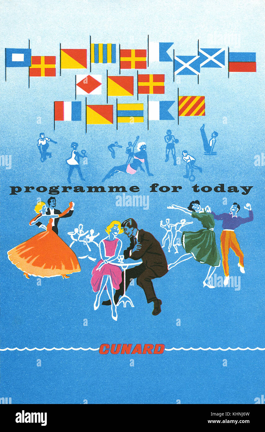 1964 Cunard Line programme cover. - Stock Image