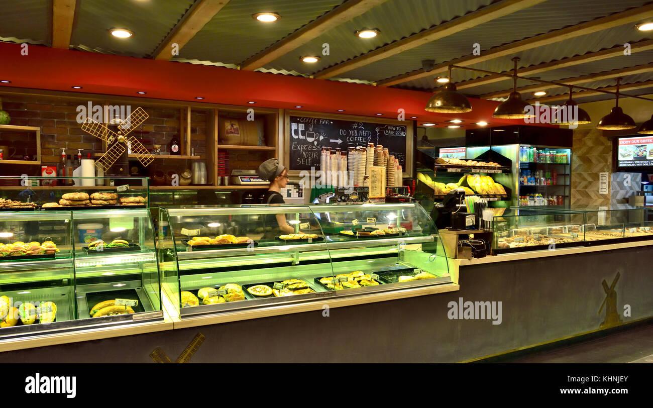 Inside of Greek bakery sandwich shop restaurant, Athens, Greece - Stock Image