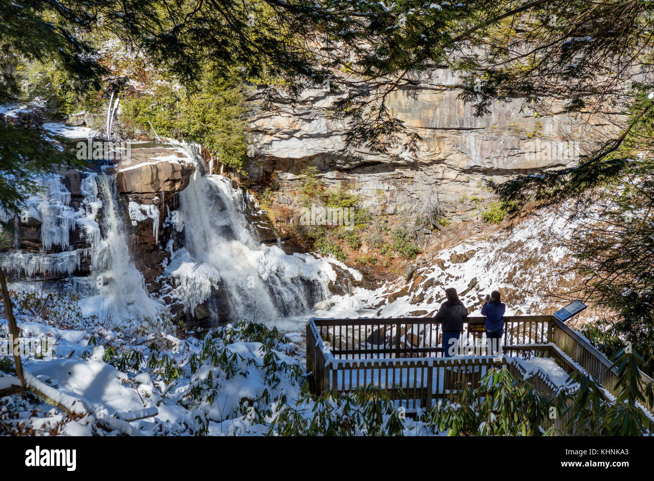 Blackwater Falls, Blackwater Falls State Park, Allegheny Mountains, West Virginia, USA - Stock Image