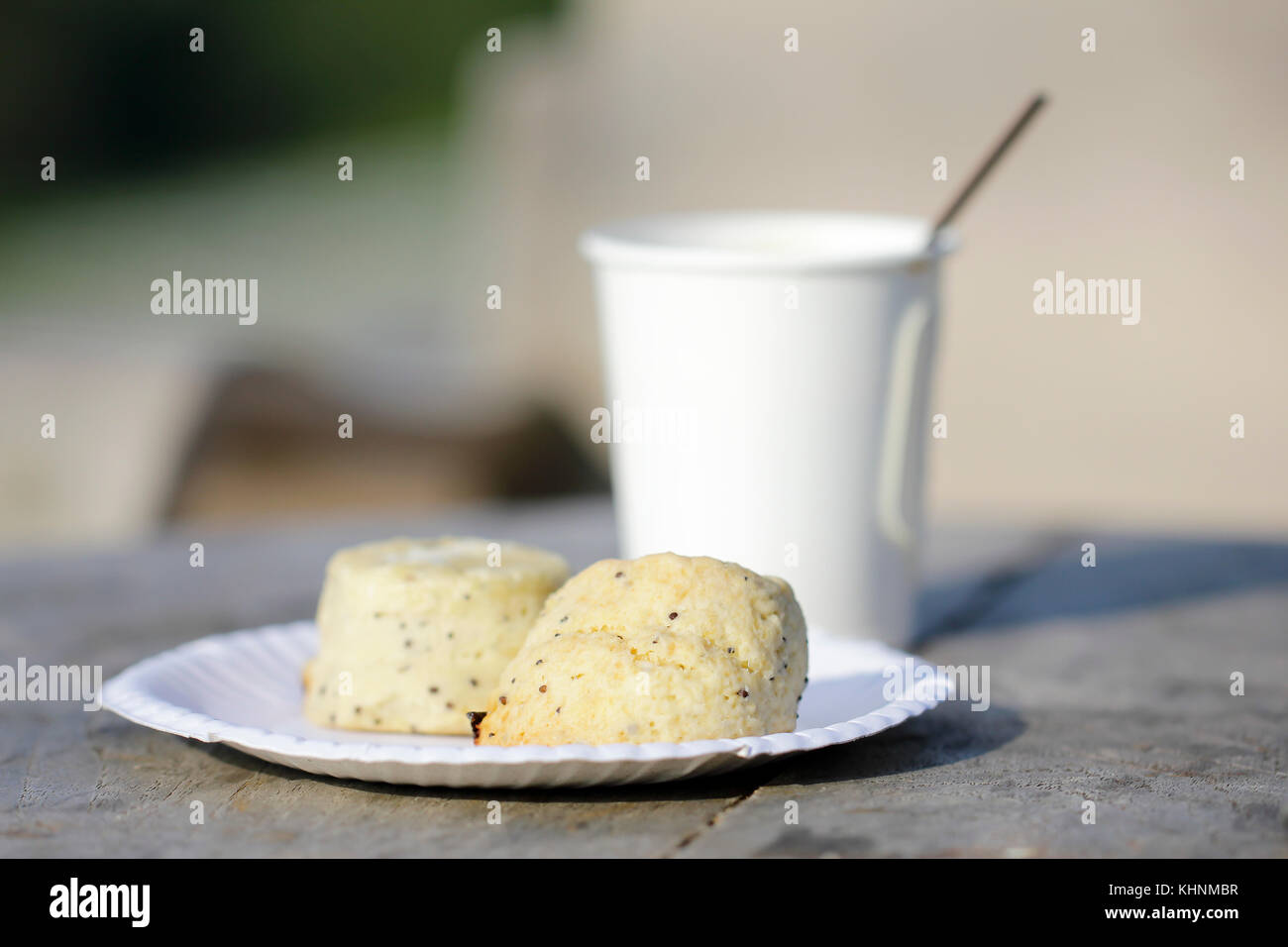 Good morning concept - breakfast white wholemeal biscuits frothy coffee - Stock Image