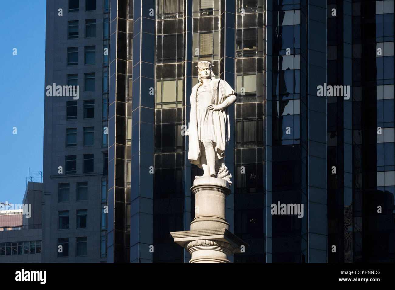 The controversial Christopher Columbus statue in Columbus Circle in New York City - Stock Image