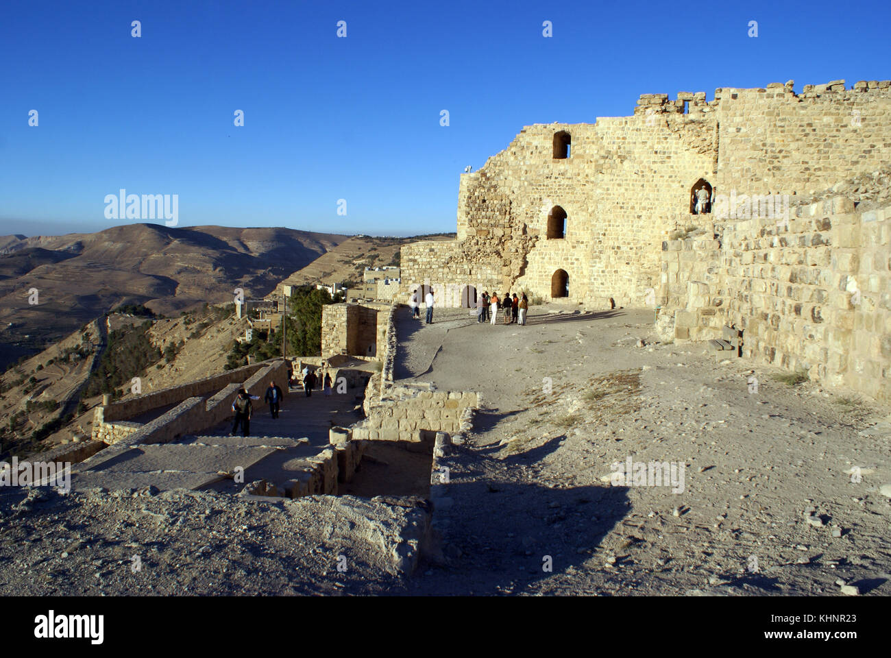 Ruins of old crusaders stronghold Karan in Jordan Stock Photo