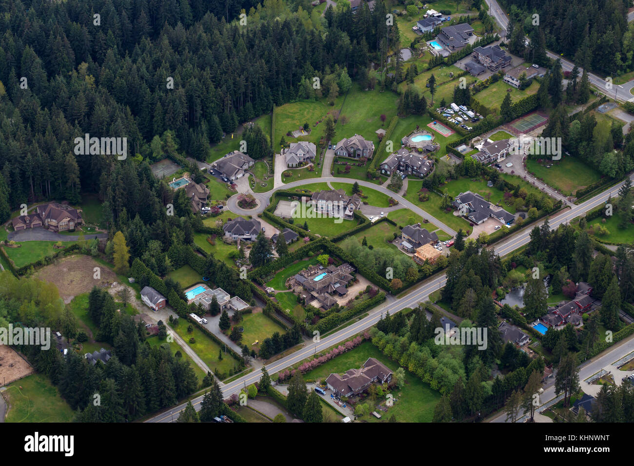 Luxury Homes In Anmore, Greater Vancouver, British Columbia, Canada. Viewed  From An Aerial Perspective.