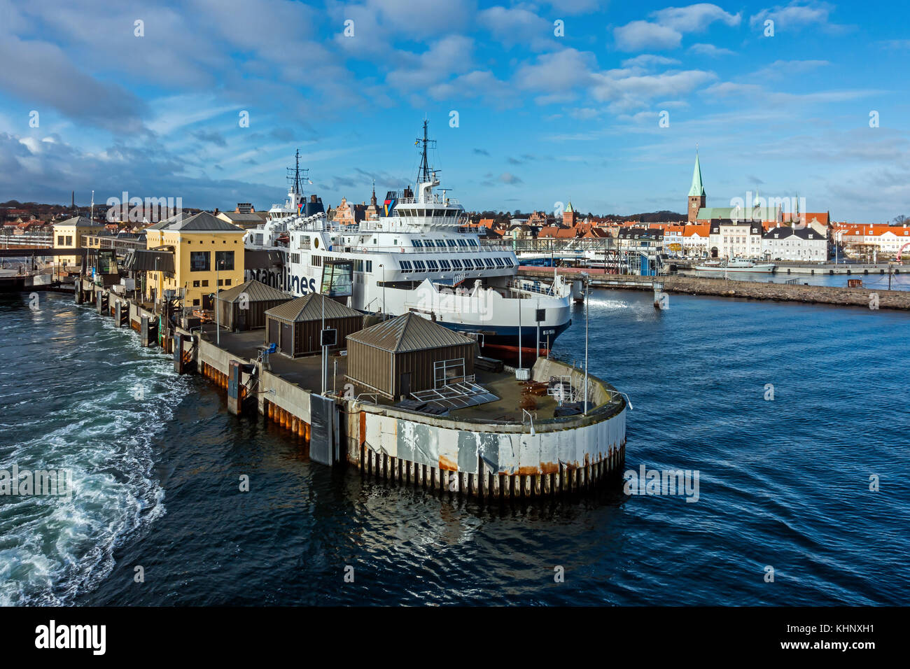 Scandlines Ro-Ro ferry terminal in Elsinore harbour Elsinore Denmark Europe with car and passenger ferry Hamlet - Stock Image
