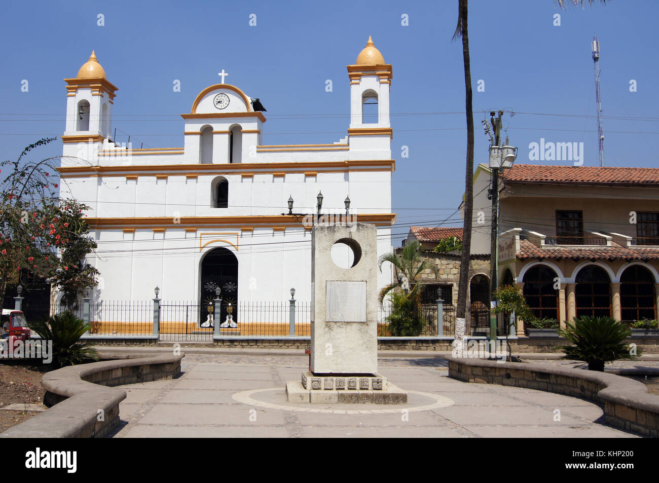 White old church on the main square of town Copan Ruinas in Honduras - Stock Image
