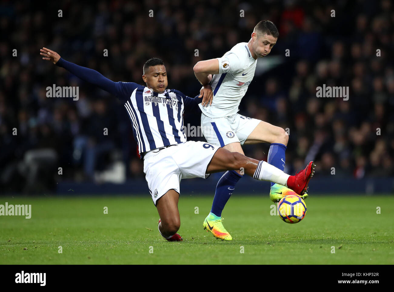 8537cc3b5983 West Bromwich Albion s Salomon Rondon (left) and Chelsea s Gary Cahill  (right) battle for the ball during the Premier League match at The  Hawthorns