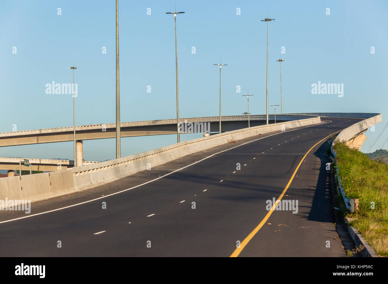 Road highway overhead flyover ramp entry exit structures - Stock Image