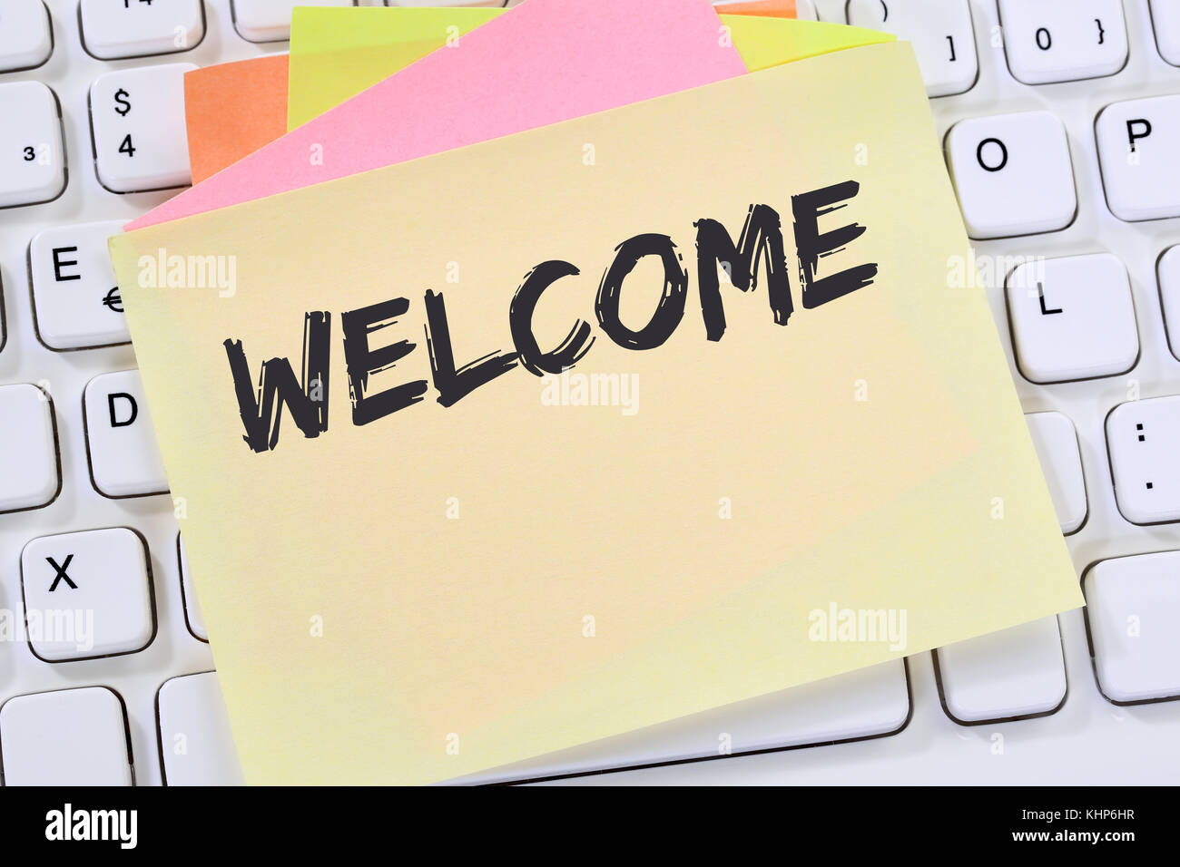 Welcome new employee colleague refugees refugee immigrants note welcome new employee colleague refugees refugee immigrants note paper business concept keyboard thecheapjerseys Images
