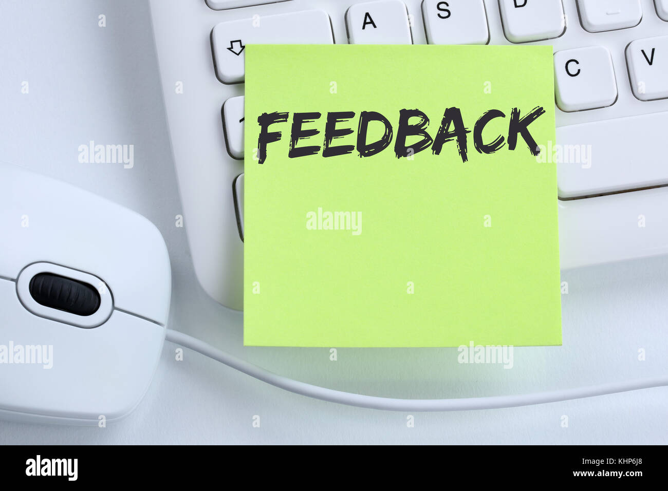 Feedback contact customer service opinion survey review business concept mouse computer keyboard - Stock Image