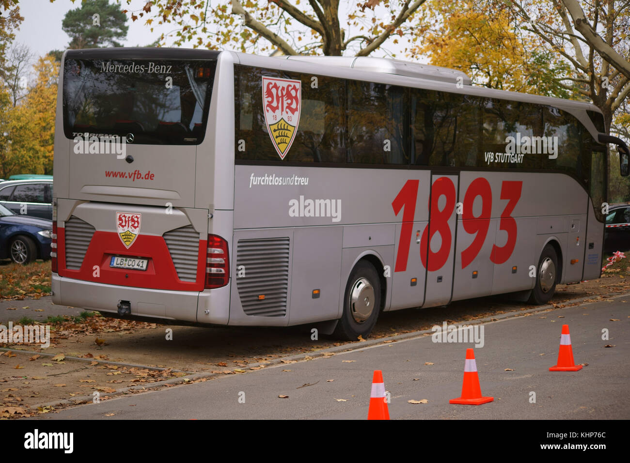 Mainz, Germany - November 04, 2017: The team bus of the football club VFB Stuttgart with coats of arms at a game - Stock Image