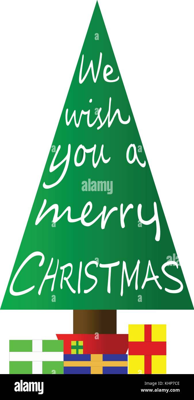 We Wish You A Merry Christmas - classic carol etched into a graphic Christmas Tree Stock Vector