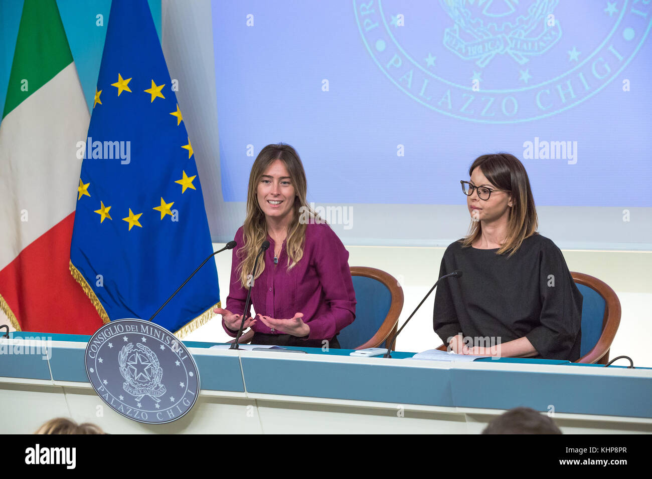 Rome,17 November 2017. Maria Elena Boschi and Lucia Annibali during the Presentation of the Campaign for the National Stock Photo