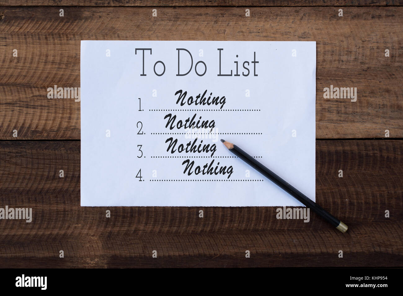 nothing to do list on paper.to do list note on wooden background.lifestyle concept - Stock Image