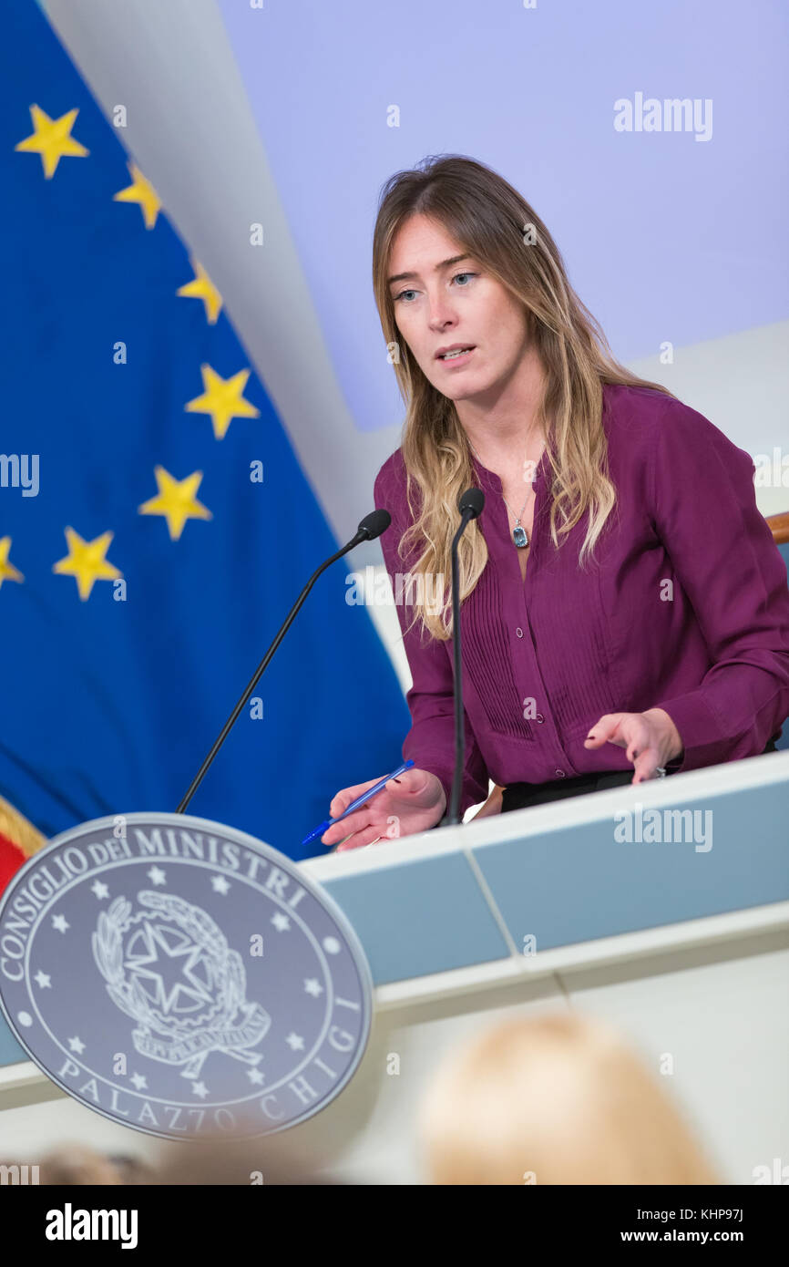 Rome,17 November 2017. Maria Elena Boschi during the Presentation of the Campaign for the National Violence against Stock Photo